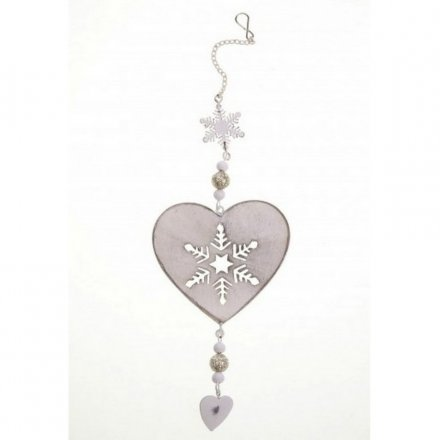Hanging Metal and Wooden Heart/Snowflake