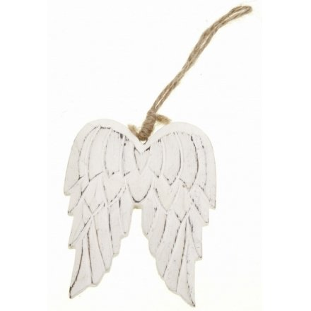 Hanging Carved Wooden Angel Wings Sml