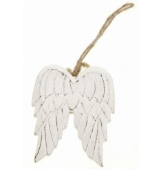 a charmingly distressed pair of hanging angel wings set with a wooden feature and white washed tone