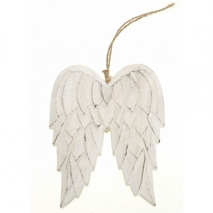 Hanging Carved Wooden Angel Wings Medium