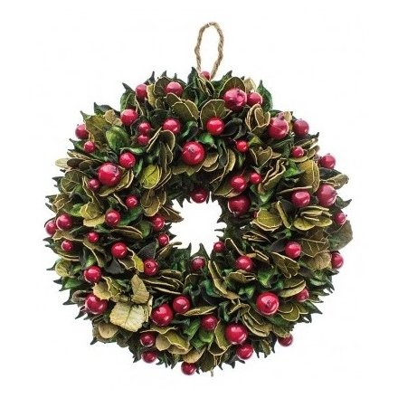 Leaf and Berry Wreath Ring 23cm