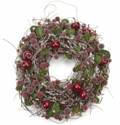 A beautiful frosted berry wreath in traditional winter colours.