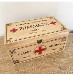 Wooden vintage pharmacie box