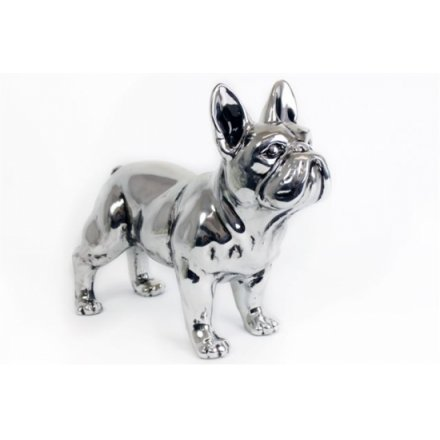 Antique Silver Standing Bulldog 29cm