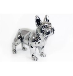 Silver bulldog ornament 29cm
