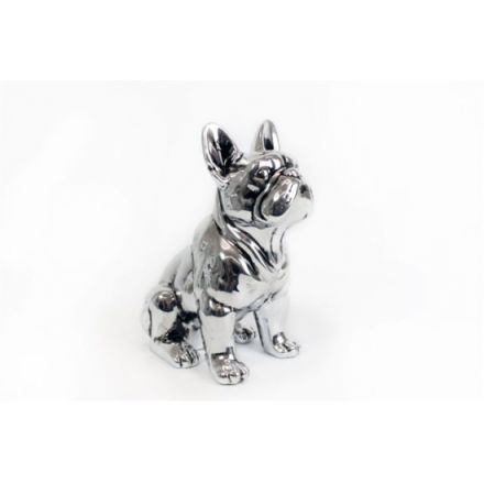 Silver bulldog ornament 22cm