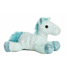 A blue and silver flopsie horse soft toy