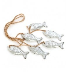 Cluster of uneven sized metal fish hanging on rustic twine 35cm