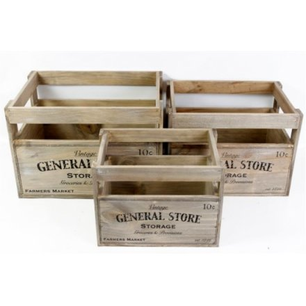 General Store Wood Crates Set of 3