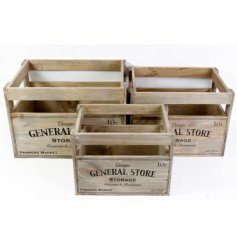 Vintage wooden General Store crates, perfect shabby chic storage
