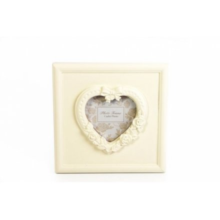 3 x 3 Cream Ornate Heart Photo Frame