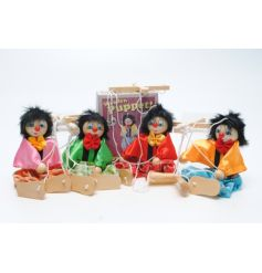 4 Assorted retro wooden puppets