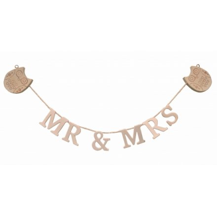 Wooden lettering on twine with Owl decs at each end, RJB Stone