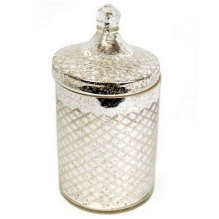 Antique Silver Diamond Cut Pot 25cm