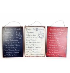 3 Assorted signs with assorted recipe scripts