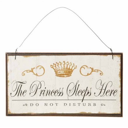 Princess Sleeps Here Wooden Plaque