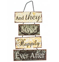 Hanging metal sign. A perfect wedding gift