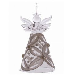 Delicate glass angel decoration with pearl and glitter detail
