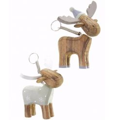 Two chic and classy moose decorations in chunky wood with a grey and white finish.