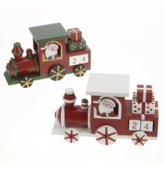 A mix of 2 wooden trains with advent blocks, a great display for any room during the festive season