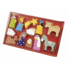 Tell the story of Christmas with this set of colourful wooden nativity decorations.
