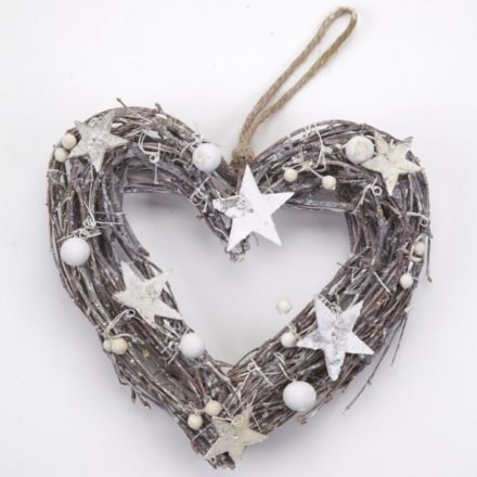 Heart Wreath with Stars 22cm