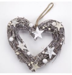 A lovely heart shaped wreath with star details.