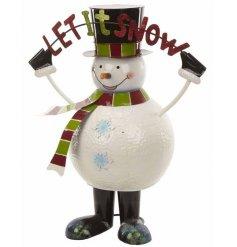 Tall metal bouncing snowman ornament