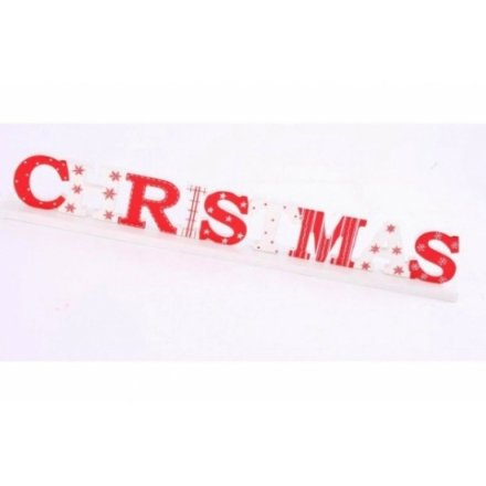 Red and White Wooden Christmas Sign