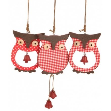Christmas Wooden Owl Hanger Mix