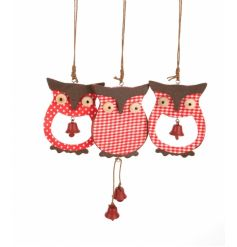 Wooden hanging owl Christmas decorations, 3 assorted designs