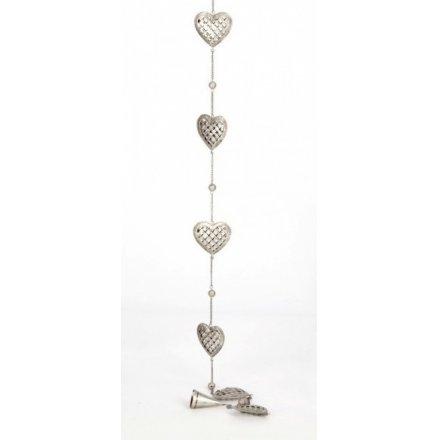 Silver Glittery Heart Garland