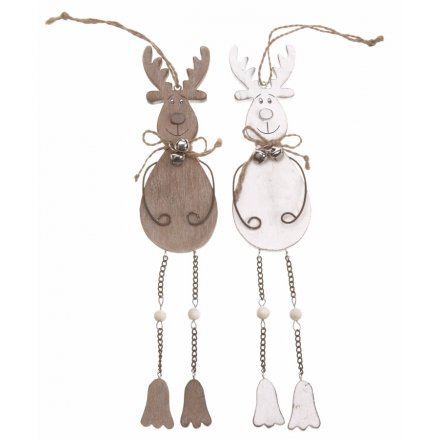 Hanging Wooden Reindeer Mix 25cm