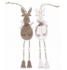 Hanging xmas Reindeers with dangly legs and bells, 2 assorted designs