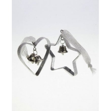 Lace Trim Heart and Star Xmas Dec Mix