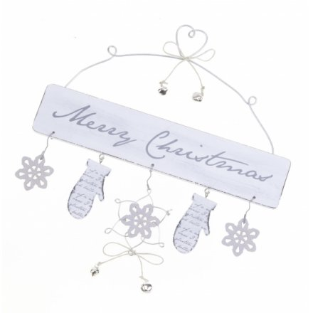 White Merry Christmas Sign 25cm