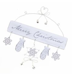 White Merry Christmas Sign with mitten and snowflake detail.