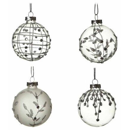 A set of 4 clear and frosted glass baubles with winter designs.