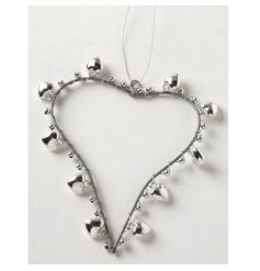A chic silver hanging heart with bells. Ideal for Christmas and everyday decoration.
