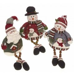 Santa and Snowmen with wooly jumpers and button legs.