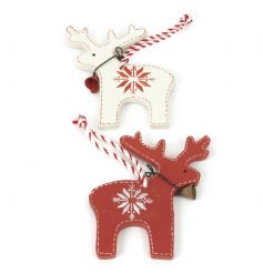 Two assorted wooden reindeer decorations with a snowflake design and candy stripe ribbon.