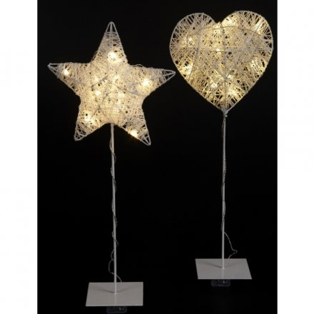 Wire Heart Star on Stand with LED Light 45cm