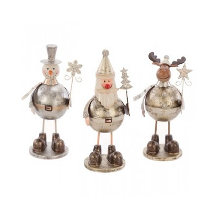 Metal Santa, Snowman, Deer Characters