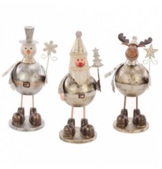 Standing Santa, Snowman and Reindeer decoration with a white, gold and silver finish.