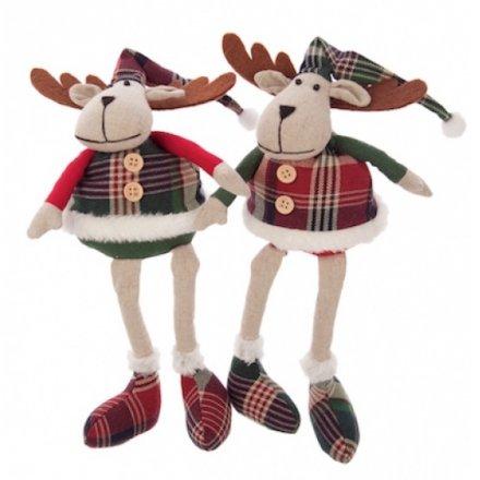 Tartan Fabric Sitting Reindeer Mix 25cm