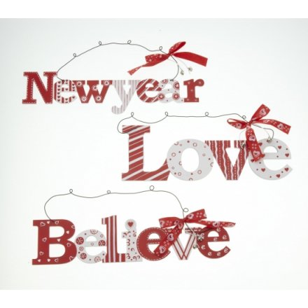 Believe Love New Year Hanger Mix 29cm
