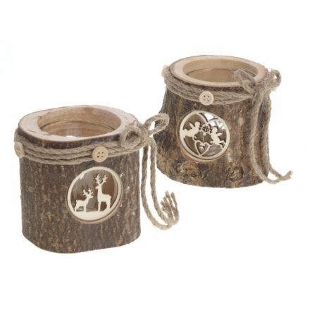 Bark Candle Holder with Scene Mix