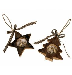 Two stunning wooden decorations with laser cut design detail and ribbon.