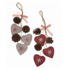 Nordic style red and white hearts and cone hanging decoration mix.