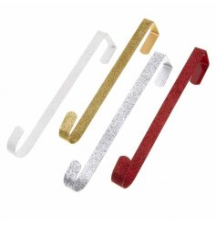 Four assorted metal hooks in silver, white, red and gold glitter designs. Perfect for hanging your wreath.
